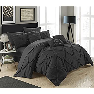 Chic Home 10 Piece Hannah Pinch Pleated, ruffled and pleated complete King Bed In a Bag Comforter Set Black With sheet set
