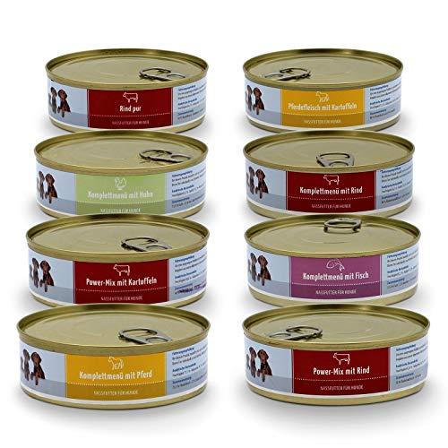 Frostfutter Pelerbeg Nassfutter ohne Getreide ohne Zucker für Hunde, Dosenfutter 2,88kg (16 Dosen a 180 Gramm mit Huhn, Rind, Pferd und Fisch) gesundes Futter für kleine Hunde