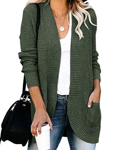 ZESICA Women's Long Sleeve Open Front Casual Lightweight Soft Knit Cardigan Sweater Outerwear,Green,Medium