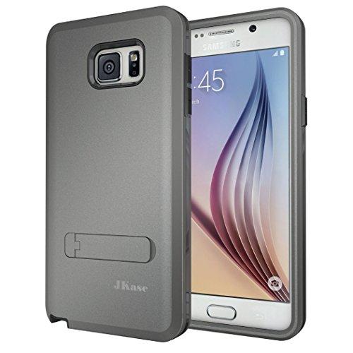 OnePlus Two Hülle, JKase Canvas X 3 Layer Rüstung Hülle Hülle TPU Innencase mit Seitenständer für Samsung Galaxy Note 5 (Grau)