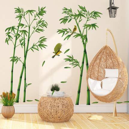 Gshy Vinilo decorativo bambú verde Pegatinas de pared de pájaros de estilo chino Decoraciones para salón Habitación Casa