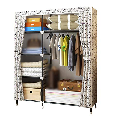 HMEIGUI Portable Wardrobe Closet Clothes Organizers And Storage - Silk cloth Armoire Wardrobe Closet With Hanging Rod, Zip closure,Flower_69x46inch