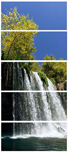 Designart Duden Waterfall Antalya-Landscape Photo Canvas Art Print-28x60 5 Piece, 28x60-5 Equal Panels, Green