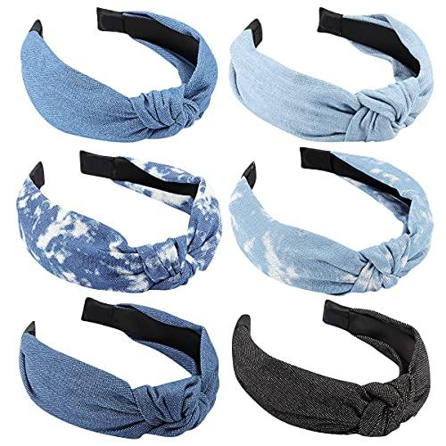 TOBATOBA Denim Headbands for Women Knotted Headbands for Women Blue Jean Hair Band Wide Head Bands No Slip Fashion for Women Top Knot Headband Boho Turban Headbands Elastic Headbands for Women Girls