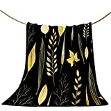 Black and Gold Blanket Throw 50'x60' Yellow Leaves Branches Blankets for Bedroom Decor Ultra Soft Flannel Blanket for Sofa Bed All Season Blankets