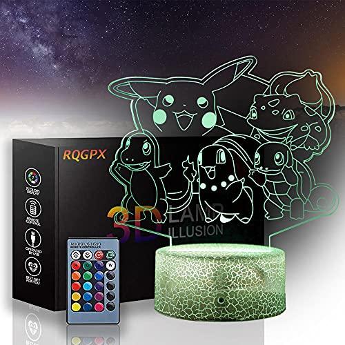 Lámpara familiar 3D Pokémon, 16 colores que cambian con mando a distancia, decoración del dormitorio de los niños como día festivo de cumpleaños y regalos para niños y niñas