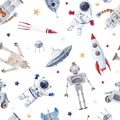 wandmotiv24 Fototapete Kinderzimmer Weltall Roboter XXL 400 x 280 cm - 8 Teile Fototapeten, Wandbild, Motivtapeten, Vlies-Tapeten Aquarell Sterne Ufo Raketen Astronaut M5813