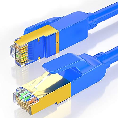 SHOUCAN Cable Ethernet CAT7 32 Pies, CAT7 Cable Al Aire Libre Triple Blindaje SSTP 10GBPS 600Mhz Ethernet Cable De Conexión para El Enrutador De Módem LAN RJ45,Azul
