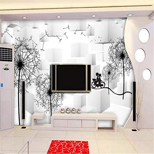 3D groot aangepaste muurpaper Wall 3D wallpaper gebruikergedefinieerd fotobehang zwart en wit paardenbloem wooncultuur muur 3D muurschildering behang 3D, 400 cm * 280 cm