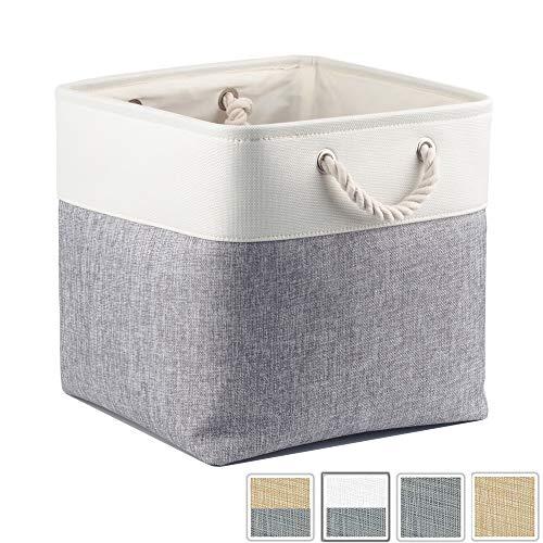 Mangata Aufbewahrungsbox Stoff, aufbewahrungskorb Grau Weiss, Korbe Stoff in Würfel (33x33x33 cm) für Schrank, Regal, und Kleidung, (Faltbare, 1er Pack)
