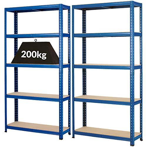 Certeo Mega Deal | 2x Schwerlastregale - Tiefe 30 cm - 200 kg pro Fachboden | Metallregal Kellerregal Lagerregal Werkstattregal Garagenregal Steckregal