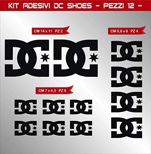 Pimastickerslab Aufkleber Stickers DC Shoes DCSHOES -Motorrad- Cod. 0574 (Nero cod. 070)