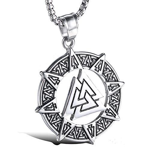 WTZWY Colgante de Valknut Vikingo nórdico, triángulo Odin Knot Runic Circle Collar Celta para Hombre para Hombres Mujeres, talismán de Amuleto de Runa Hecho a Mano,Plata