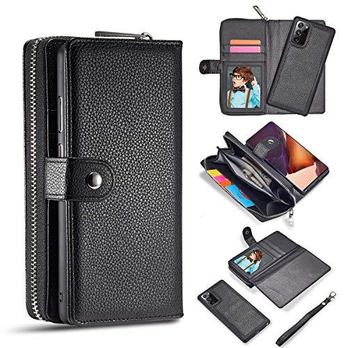 Funda para Galaxy Note 20 Ultra 2020, Samsung Note 20 Ultra Cartera con cierre magnético extraíble de piel de gran capacidad con cremallera Lanyard cartera con soporte para tarjetas – Negro