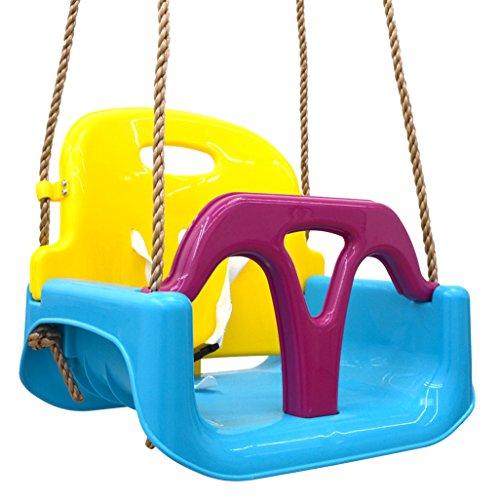 LittleTom 3-in-1 Kinderschaukel Baby Garten Schaukel 40x43x33cm Indoor Outdoor 6-72 M Blau-Gelb