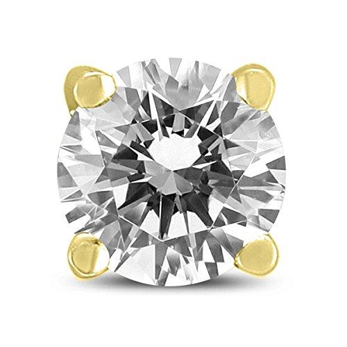 Pendientes de diamante redondos de 1 quilate con certificado AGS para hombre, en oro amarillo de 14 quilates