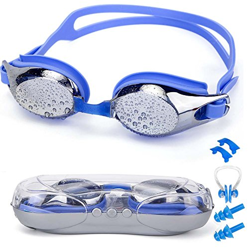 SIXBOX Swim Goggles Leak Free Anti UV Lens Adjustable Shoulder Strap Triathlon Swimming Goggles Anti Fog Nose Clip, Ear Adult Male, Female, Kids,Youth(Blue)