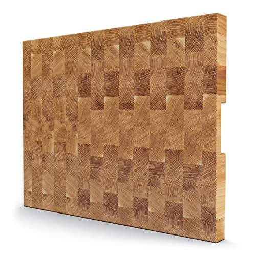 End Grain Oak Wood Cutting Board Handmade European Oak Butcher Block Large Wooden Chopping Board for Meat Carving Food Prep and Professional Chefs Knife-Friendly and Warp-resistant