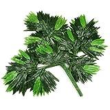 ZHTY 12 unids de Hojas de eucalipto Artificial de Hojas Verdadero Tamaño Plastic Garden Hogar Compras Almenta Decoración Faux Plantas Verdería (Color: Pink Pink) Song (Color : Bamboo Leaves)