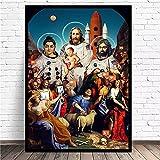 LTGBQNM Moderna Pintura de Lona de Alta definición Astronauta, Jesús, Virgen María, Pintura Decorativa Pintada a Mano 24x32inchx1 No Frame
