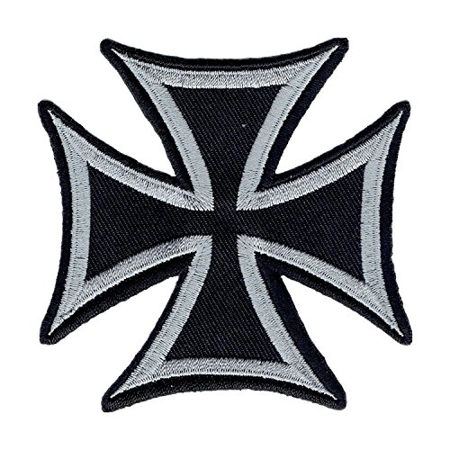 Lucky Patches, Aufnäher, Applikation, Aufbügler, Iron on Patch - Chopper, Biker, Custem, Hot Rod, Iron Cross, Kreuz - 8 x 8 cm (Silber)