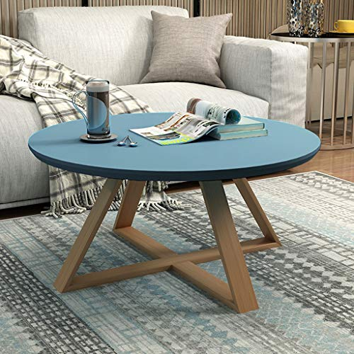 XinQing-Coffee Table Simple Round Combination Mini Coffee Table Creative Personality Living Room Simple Round Table (Color : Blue)