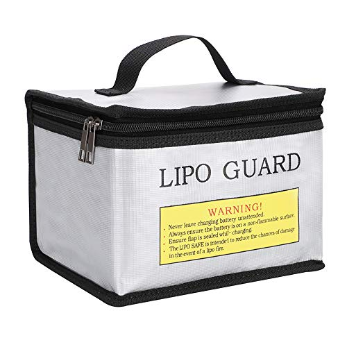 Youdepot Fireproof Explosionproof Lipo Safe Bag for Lipo Battery Storage and Charging , Large Space Highly Sturdy Double Zipper Lipo Battery Guard, 8.5x6.5x5.7Inches