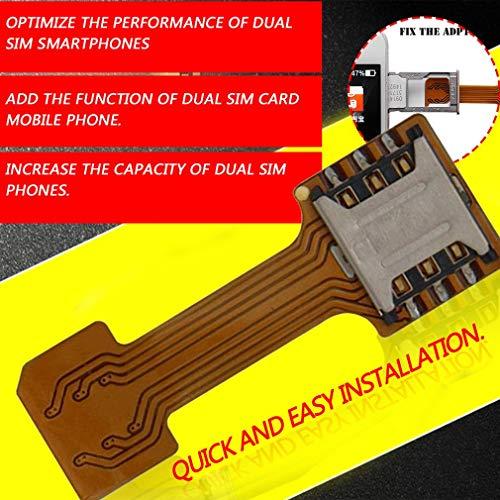 GWN Extensor de Adaptador de Tarjeta SIM Dual con Ranura para Tarjeta SIM híbrida portátil para teléfono, café y Plata