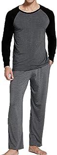 Los hombres de Algodón de Manga Larga Pijamas Conjunto con Pantalón Largo de Dos Piezas Traje de Pijama de los Hombres Largo Ropa de Hogar Ropa de Dormir