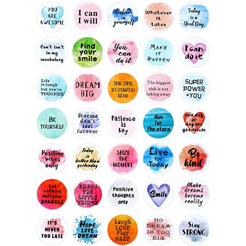 350 Pieces Inspiring Planner Stickers 1 Inch Round Motivational Stickers Encouraging Watercolor Stickers Self-Adhesive Positive Sayings Accents for Phone, Scrapbook, Laptops, Water Bottle
