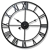 LUNAH Relojes de jardín al Aire Libre Impermeable, números Romanos Relojes de Interior y Exterior para el jardín Montado en la Pared Metal Precisión Mute Colgante Reloj Exterior con Pilas Redondo