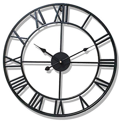 NLRHH Garten-Uhren für den Außenbereich, wasserdicht, römische Ziffern, Innen- und Außenuhren für den Garten, Wandmontage, Metall, Präzisions-Dämpfer-Anhänger, batteriebetrieben, rund, 40 cm, A,B