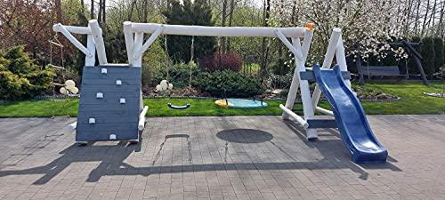 PREMIUM Holz Spielturm mit Kletterturm 2x Schaukel 1x Rutsche Garten Spielhaus OSKAR 3