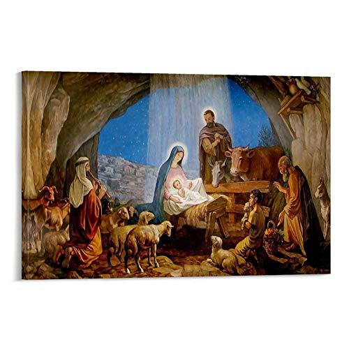 Póster decorativo del nacimiento de Jesús, lienzo para pared, sala de estar, dormitorio, 50 x 75 cm
