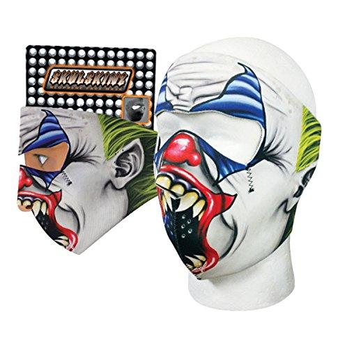 Creepy Evil Joker Circus Clown Neoprene Face Mask Green Hair White Face 3 D Sublimation