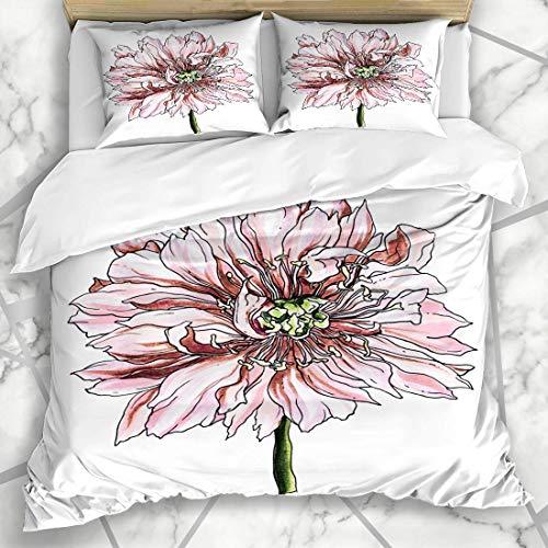 Soefipok Bettbezug-Sets Malerei Aquarell Weiß Hellrosa Pfingstrose Blume Blüte Natur Zeichnung Exotic Vintage Oriental Microfiber Bettwäsche mit 2 Pillow Shams