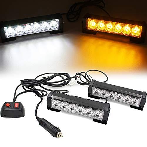 FOXCID 2 X 6 LED 9 Modes Traffic Advisor Emergency Warning Vehicle Strobe Lights for Interior Roof / Dash / Windshield / Grille / Deck Universal Waterproof (White / Amber)