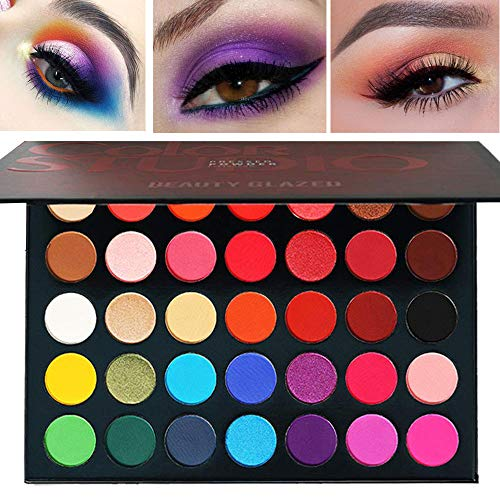 35 Colors MakeUp Inner Artist Pressed Eyeshadow Palette Pop Matte Shimmer Colors Blendable Natural Velvet Texture Powder Creamy Eye Shadow Makeup Palette