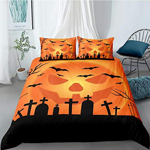 Juegos de Cama 3D Halloween Horror Castle Print Funda nórdica Funda de Almohada Fondo Negro Textiles para el hogar 220x260cm
