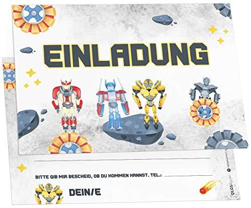 12x Transformer Freunde Einladungskarten inkl. Umschläge perfekte Einladung zum Kindergeburtstag oder Kinder Party | Geburtstag-Einladungen zum ausfüllen (Transformer Freunde)