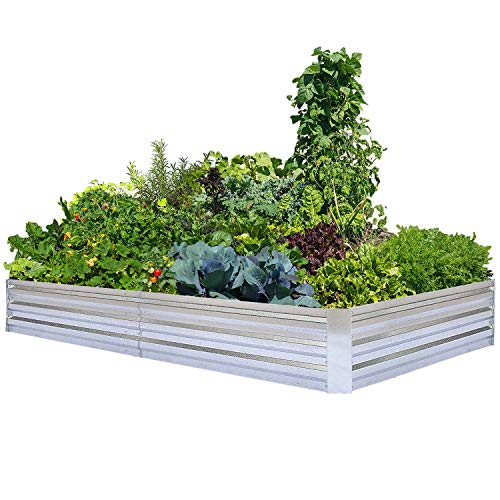 Galvanized Raised Garden Beds for Vegetables Large Metal Planter Box Steel Kit Flower Herb 8x4x1ft