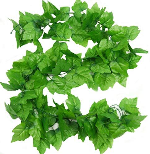 Guirnalda de hojas de vid artificiales, de 2,4m, para colgar en casa, jardín, pared, 2 unidades