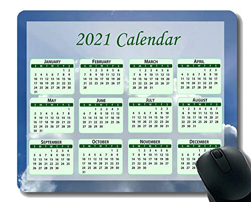 Calendar 2021,Seasons of Different Colo Mouse Pad,Tree in Fields in Winter Mouse Pad with Stitched Edge
