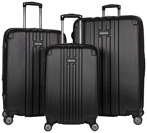 """Kenneth Cole Reaction Reverb Hardside 8-Wheel 3-Piece Spinner Luggage Set: 20"""" Carry-on, 24"""", 28"""", Black"""