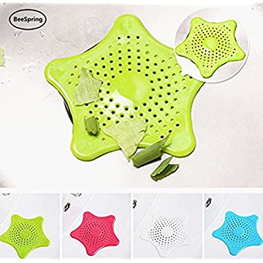 Shower Drain Hair Catcher, BeeSpring Starfish Shaped Strainer Drain Protector for Kitchen and Bathroom 2PCS randam color