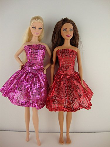 Set of Two Beautifully Done Sequined Party Dresses in Red and Pink Made to Fit Barbie Doll