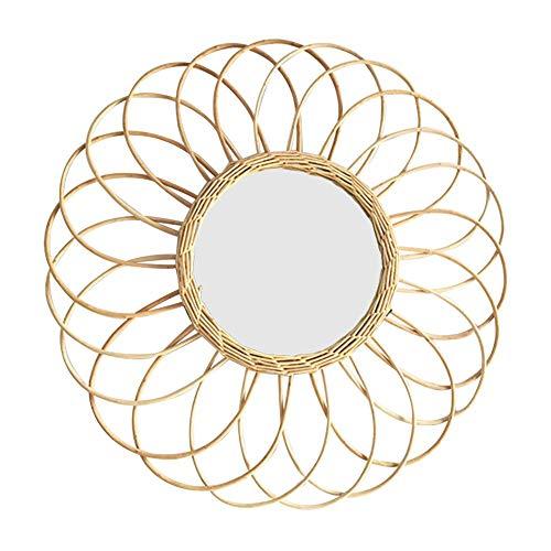 RecoverLOVE Espejos de Pared Decorativo Colgante de Pared Espejo de tocador con ratán Natural Espejo Redondo Sala de Estar Sol Forma Moderno Art Deco Espejo de Pared