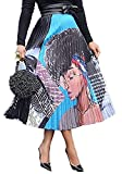 Speedle Women Color Block Graffiti Letter Print Cartton Pleated A Line Maxi Long Party Skirt Graphic M