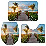 3 Piece Bath Rug Set Boardwalk to The Beach Sunset Super Absorbent Cozy Memory Foam Bathroom Mat, Natural Caribbean Blue Sky Sea (Bath Rug 32' X 20' Contour Mat 20' X 16' Toilet Seat 16' X 18')