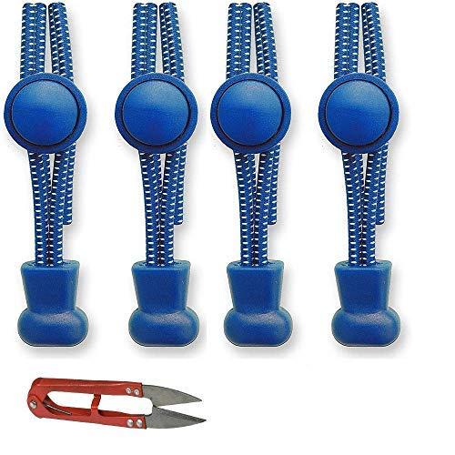 2 paar elastische veters met snelsluiting (veters lengte 100 cm, 1 kleine schaar) blauw